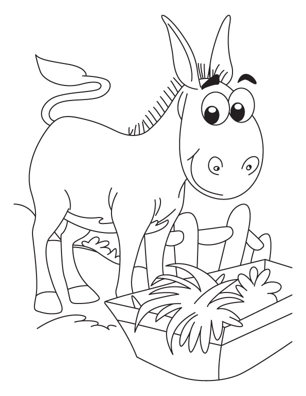 Enjoying! Delicious food donkey coloring pages | Download ...