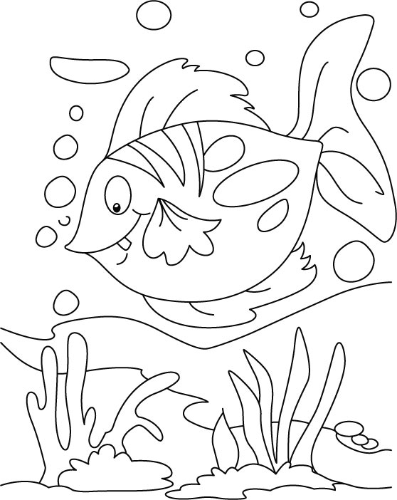 Floating Fish Coloring Pages Free