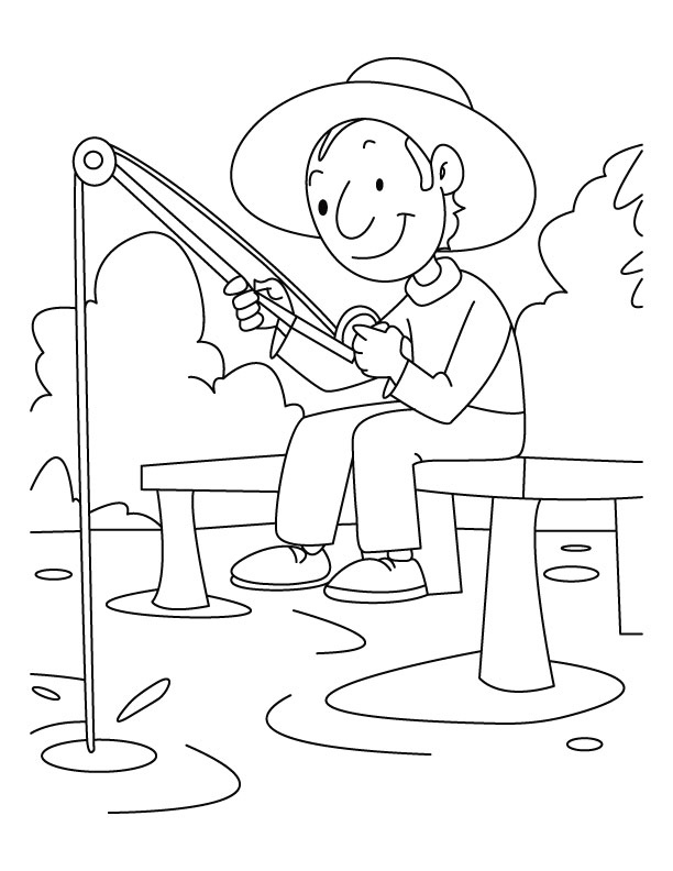A boy is fishing coloring pages   Download Free A boy is ...