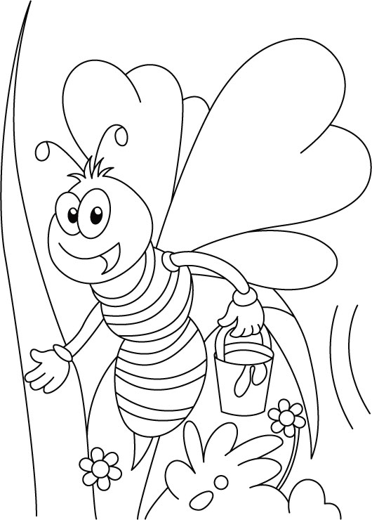Miss Honey Bee On Her Tweet Coloring Pages Free
