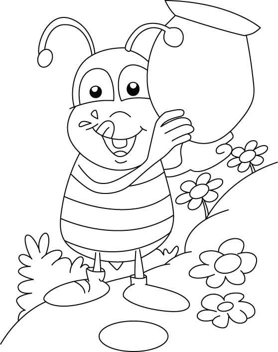 Honey Bee Collecting Sweet Coloring Pages Free