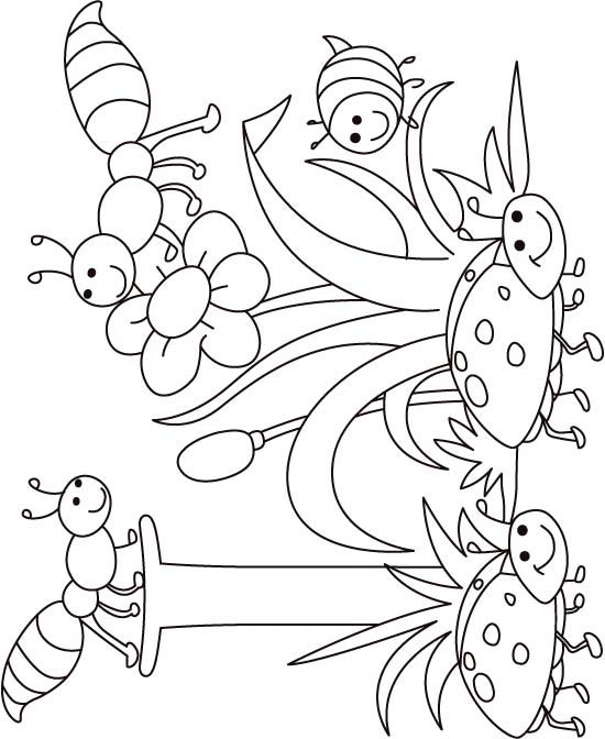 I For Insect Coloring Page Kids Free