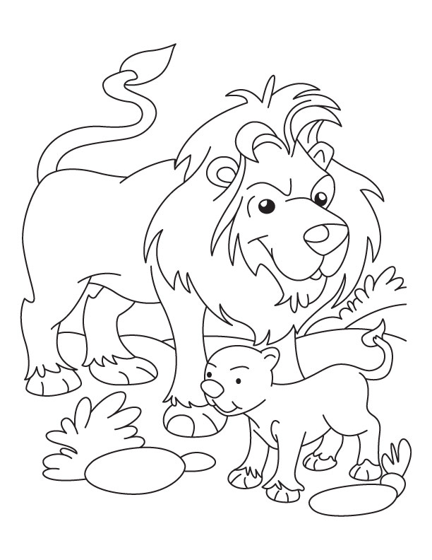 Lion And Cub Coloring Page Free