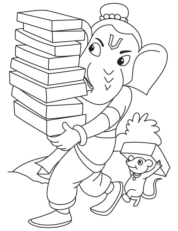 Lord Ganesha With Books Coloring Page Free