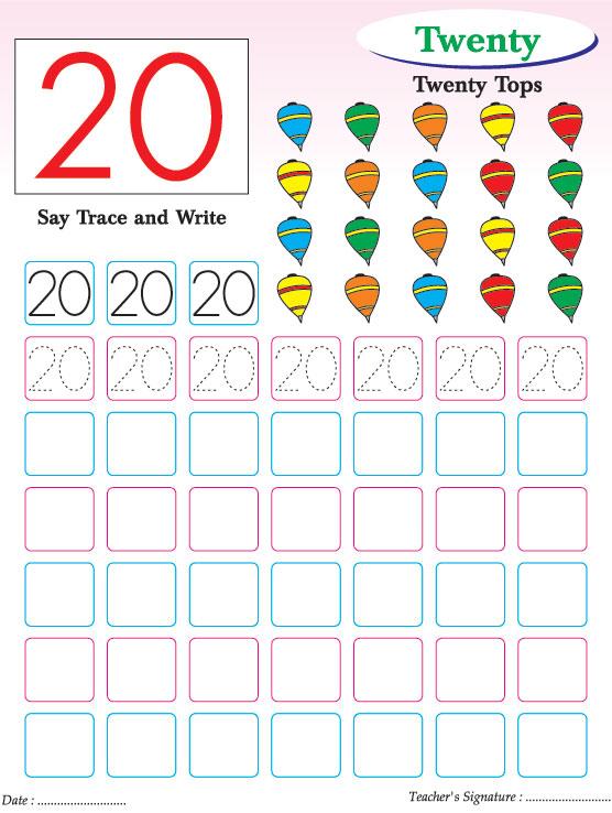Numbers writing practice worksheet-20 | Download Free ...
