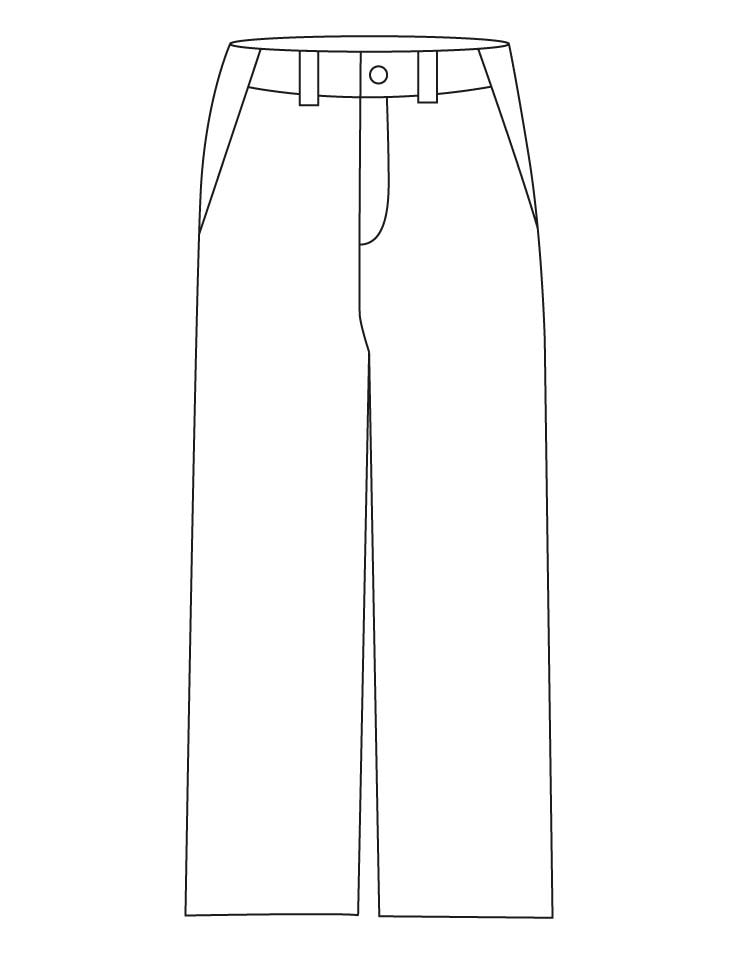 It is a graphic of Candid Pants Coloring Page