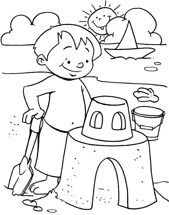 Fun With Sand Coloring Page Free Summer Color Pages Sheets