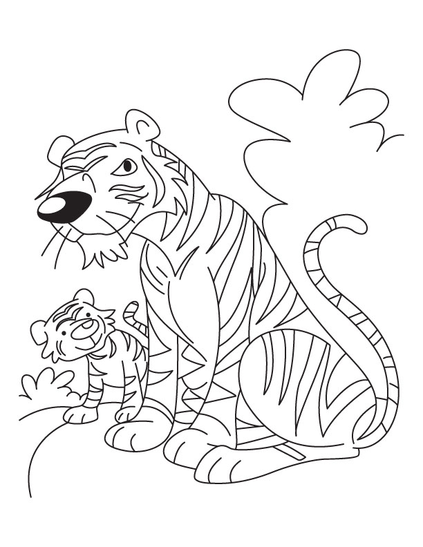 Free tiger cub coloring pages coloring page for Mom and baby coloring pages