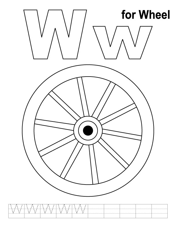 W for wheel coloring page with handwriting practice ...