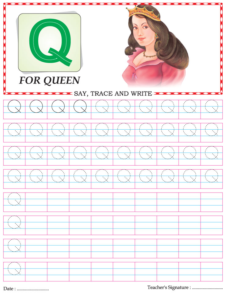 Capital letter writing practice worksheet alphabet Q | Download ...