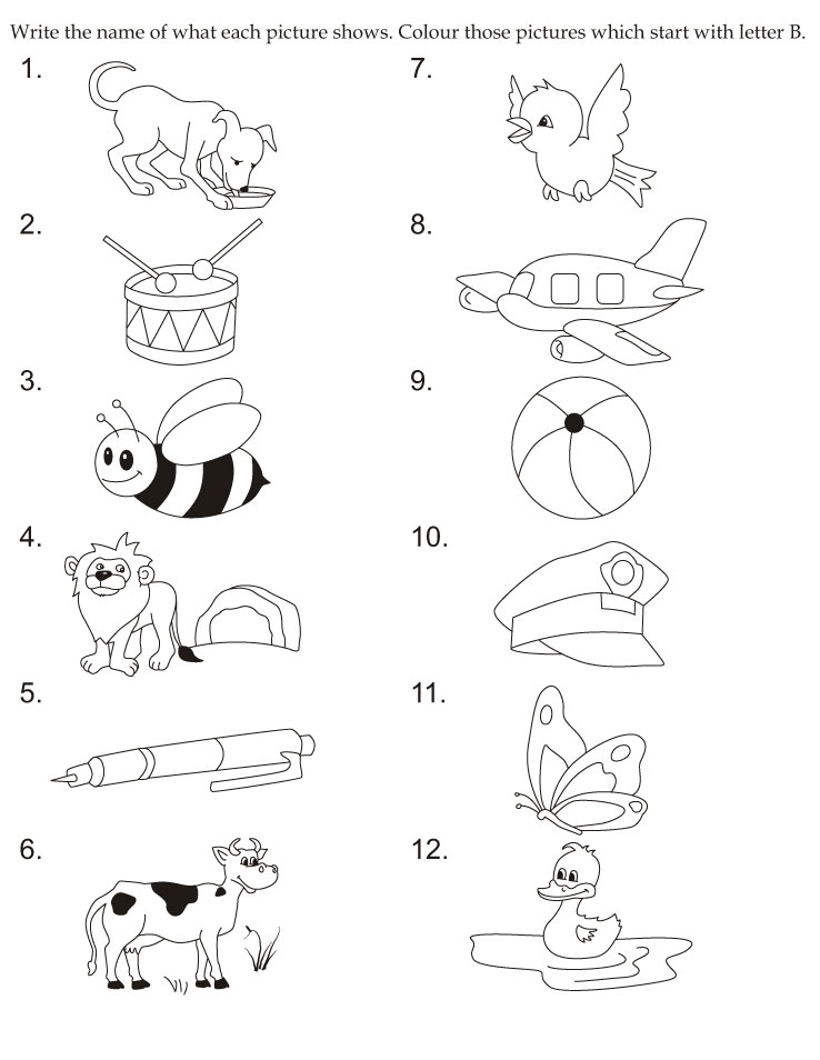 Download english activity worksheet colour those pictures which
